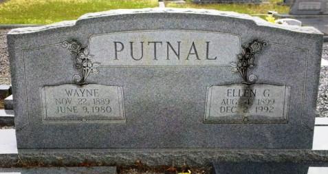 Wayne and Ellen Putnal, gravemarker, Beaver Dam Cemetery, Ray City, GA.