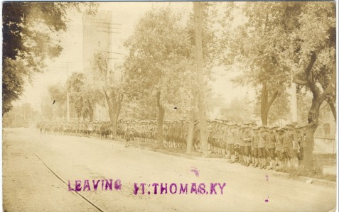 1917 photo postcard showing newly-inducted soldiers departing Fort Thomas, Kentucky for their training assignments. The back of the card is cancelled by the Columbia machine cancel of Newport, Kentucky (the town nearest Fort Thomas), dated August 11, 1917. Photo and caption courtesy of Bob Swanson