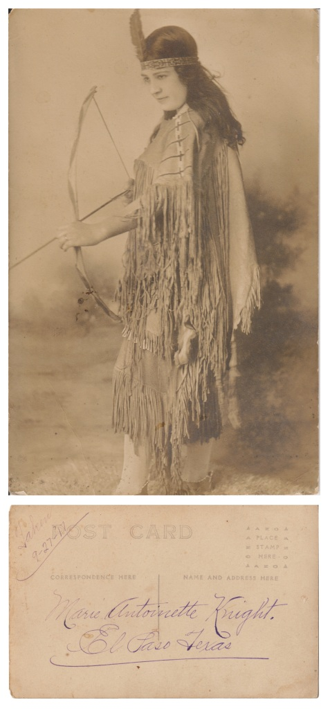 Marie Antoinette Poblette Knight, novelty postcard, 1917, El Paso, TX