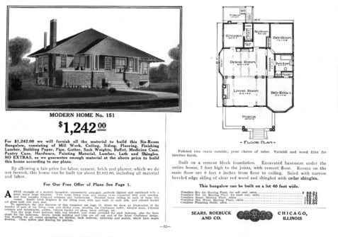 Houseplans for The Avondale, mail-order house sold by Sears & Roebuck.
