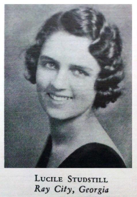 Margaret Lucille Studstill, 1933, Georgia State Womans College, Valdosta, GA