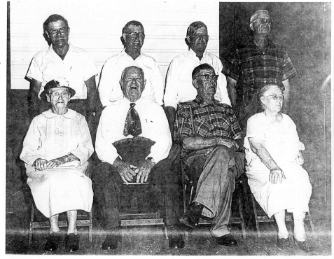 Dicy Valeria Tyler Hill Nix, Wife of George Washington Nix, and the Nix children,  photographed circa 1965. Front Row: Dicy Valeria Tyler Hill Nix, Joe Varn Nix, William Franklin Nix, Missouri Arzilla Nix Ray. Back Row: Lucius Nix, Columbus Charles Nix, Thomas Calvin Nix, Elbert Nix. Lucius was the son of Valeria and G.W. Nix. All others were the children of Piety Ann Rowe and G.W. Nix. (image courtesy of http://berriencountyga.com/)