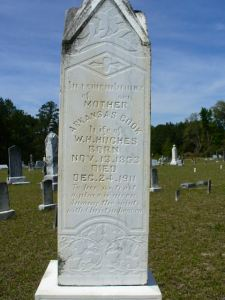 Grave marker of Arkansas Cook, b. Nov. 13, 1853 d. Dec. 24, 1911. Born Laura Arkansas Cook, she was the second wife of George Washington Nix. She is buried next to her first husband, William Hansford Hughes, at Empire Cemetery, Lanier County, GA. http://www.findagrave.com/cgi-bin/fg.cgi?page=gr&GRid=38845663