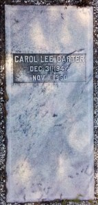 Grave marker of Carol Lee Carter (1944-1950), Beaver Dam Cemetery, Ray City, GA.