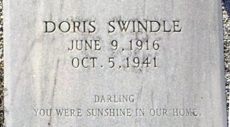 Grave marker of Doris Swindle (1916-1941), Beaver Dam Cemetery, Ray City, Berrien County, GA.