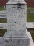 "Gravemarker of Frances J. Baskin, Beaver Dam Cemetery, Ray City, GA. The inscription reads, ""Wife of J.M. Baskin"" and ""with him an organizing member of Beaver Dam Baptist Church."""