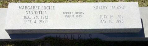 Gravemarker of Margaret Lucile Studstill Morris, Nashville City Cemetery, Nashville, GA.