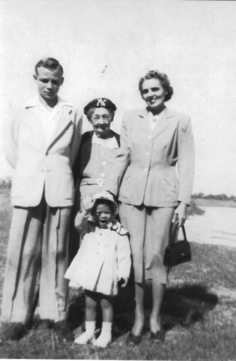 Shelby Jackson (Jackie) Morris, Jr., born 1 June 1938, Kansas Anne Futch, born 15 November 1875, died 22 September 1958, Margaret Lucile Studstill Morris, born 28 December 1913, and Margaret Ann (Peggy) Morris, 1950.