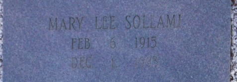 Gravemarker of Mary Lee Sollami (1915 -1993), Beaver Dam Cemetery, Ray City, GA.