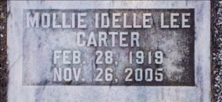 Grave marker of Mollie Idelle Lee Carter (1919-2005), Beaver Dam Cemetery, Ray City, GA.