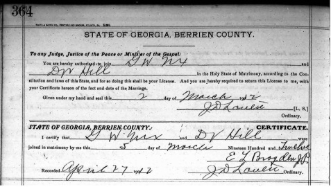 Marriage certificate of G.W. Nix and D.V. Hill, Berrien County, GA. Marriage Books, Berrien County Ordinary Court, Georgia Archives. http://cdm.sos.state.ga.us/u?/countyfilm,189046