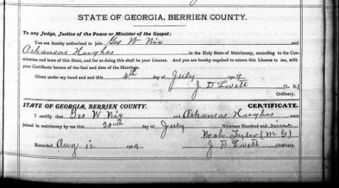 Marriage Certificate of George W. Nix and Arkansas Hughes, July 4, 1909, Berrien County, GA. The marriage ceremony was performed by Noah Tyler, Minister of God. Marriage Books, Berrien County Ordinary Court, Georgia Archives. http://cdm.sos.state.ga.us/u?/countyfilm,189046