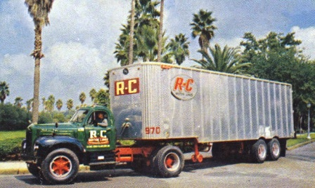 1950s tractor-trailer rig of R-C Motor Lines, a large interstate trucking company based in Jacksonville.