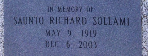 In memory of Saunto Richard Sollami (1919-2003), Beaver Dam Cemetery, Ray City, GA.