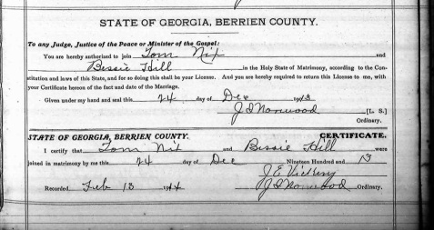 Marriage Certificate of Tom Nix and Bessie Hill, Berrien County,GA.