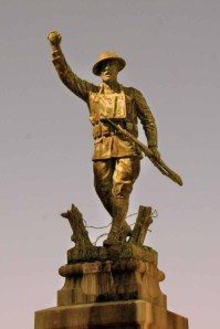 WWI Doughboy Monument, Nashville, GA.  The name of Lorton W. Register appears on the base of the monument, along with the names of other soldiers of Berrien County, GA who gave their lives in the war.