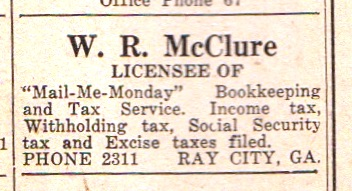 "1948 Classified Ad for ""Mail-Me-Monday"", Ray City, GA"