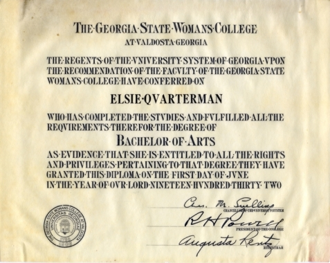 Elsie Quarterman, Georgia State Womans College diploma, 1932.