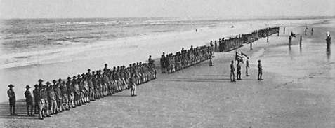 WWI soldiers drilling on the beach, Ft. Screven, GA.