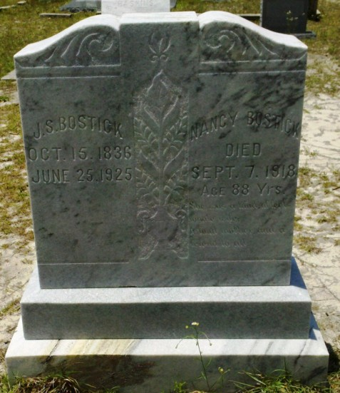 Gravemarker of Jesse Bostick and Nancy Corbitt Lastinger Bostick, Live Oak Cemetery, Atkinson County, GA.
