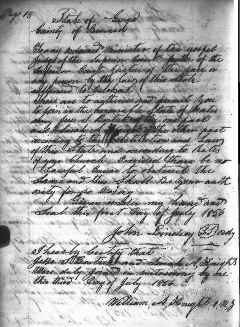 Marriage of Jesse Bostick and Sarah Ann Knight, July 3, 1856.