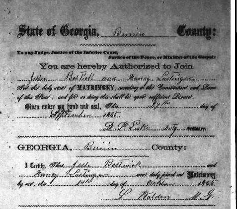 Marriage of Jesse Bostick and Nancy Lastinger, October 1, 1865, Berrien County, GA