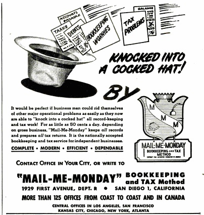"1947 advertisement for ""Mail-Me-Monday"" franchises."