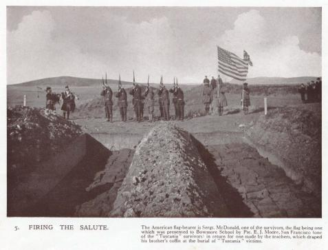 Military Salute to Otranto Victims, Kilchoman Cemetery, Island of Islay, Scotland. A military salute being fired over the mass graves of American troops killed in the wreck of the Otranto which occured October 6, 1918. Among the dead were two soldiers from Ray City, GA, Shellie Loyd Webb and Ralph Knight.
