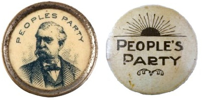 Populist Party 1892 Campaign Buttons.  Campaign buttons for the Populist Party candidate, James B.Weaver, in the presidential election of 1892.