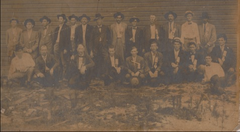A group of men assembled at Beaver Dam Baptist Church (now known as Ray City First Baptist Church), Ray City, GA.  This was before the present brick church was built.