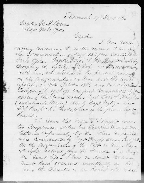 Colonel Edward C. Anderson letter of August 27, 1862 explaining confusion over the two officers of the Berrien Minute Men named Levi J. Knight.