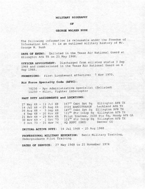 Military Record of George W. Bush