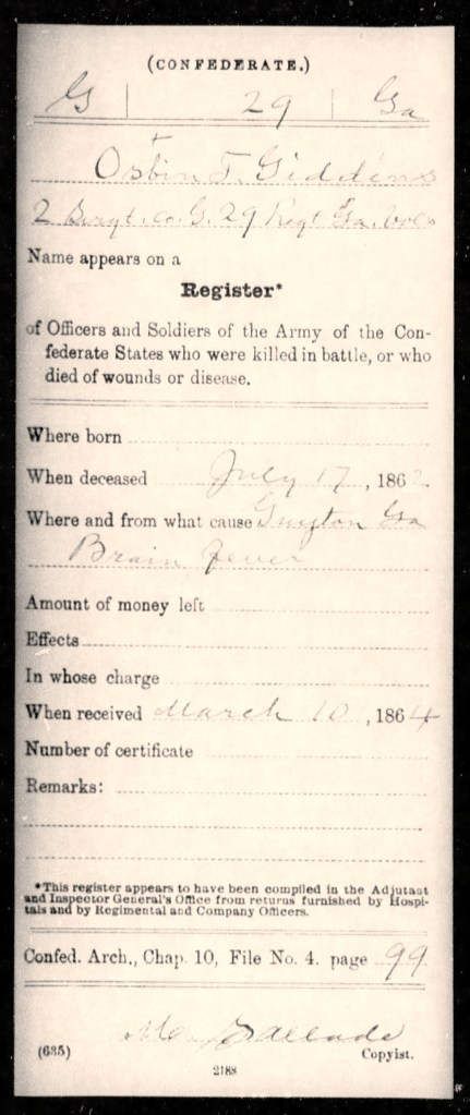 Isbin T. Giddens, register of deaths by disease, Confederate Archives