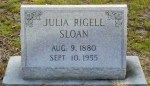 Grave of Julia Rigell Sloan, City Cemetery, Lakeland, Lanier County, GA