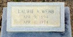 Grave of Laurie Knight Webb (1894 - 1974), Beaver Dam Cemetery, Ray City, GA.