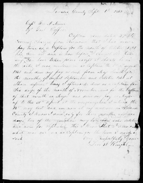 Levi J. Knight letter of September 9, 1862 to Captain George A. Mercer.