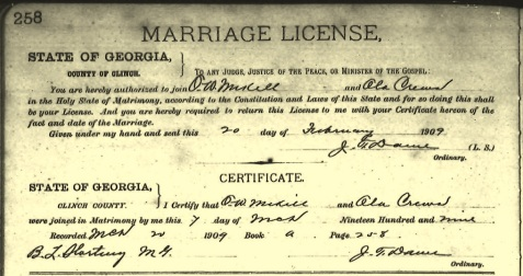 Otis Mikell and Ola Crews marriage certificate.