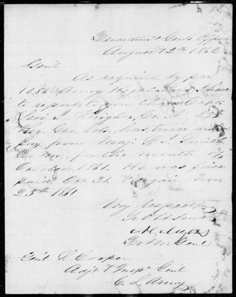 1862 letter from the Adjutant General's Office alledging that Levi J. Knight defrauded the government of the Confederate States of America by drawing pay twice for the same month.