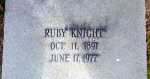 Grave of Ruby Knight Johnson (1891 - 1977), Beaver Dam Cemetery, Ray City, GA.
