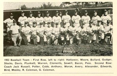 Joe D. Clements, of Ray City, GA and the 1953 North Georgia College Baseball Team