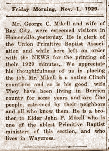 George C. Mikell, Nov 1, 1929, Clinch County News