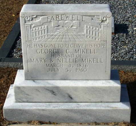 Grave marker of George Calhoun Mikell (1896-1960), New Ramah Cemetery, Ray City, Berrien County, GA.