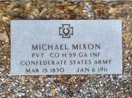 Gravemarker of Michael Mixon, Private, Company H, 59th Georgia Infantry, CSA, 19 Mar 1830 - 6 Jan 1911, New Bethel Baptist Church Cemetery.
