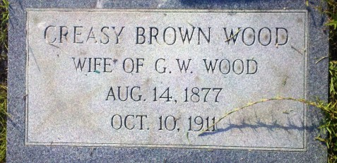 Grave marker for Creasy Brown Wood, Wife of George W. Wood, North Cemetery, Dupont, Clinch County, GA.