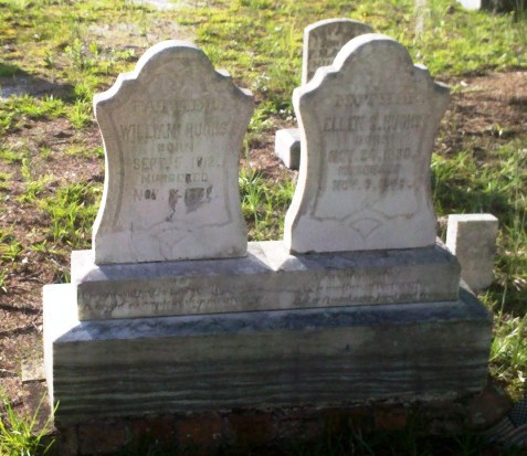 Grave markers of William Hughs, and Ellen S. Hughs, murdered in 1889, buried at North Cemetery, Dupont, Clinch County, GA.