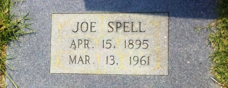 "Joseph John ""Joe"" Spells (April 15, 1895 - March 13, 1961), Beaver Dam Cemetery, Ray City, GA."