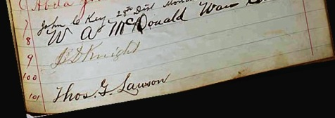 Signature of Jonathan David Knight, of Rays Mill, GA, on the Georgia Constitution of 1877
