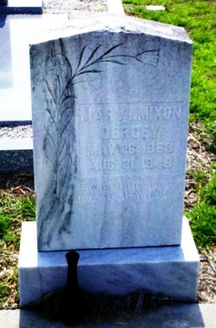 Grave marker of Mary I. Mixon Cersey, Beaver Dam Cemetery, Ray City, GA.