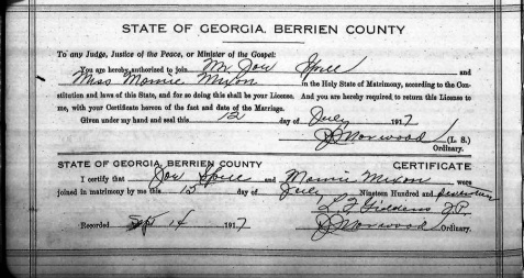 Marriage certificate of Mamie Mixon and Joe Spells.