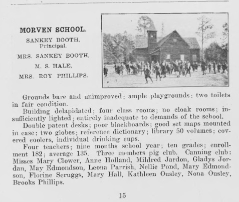 Morven School, 1917. Sankey Booth, Principal.